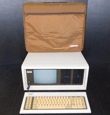 Vintage Early Compaq Portable I Original Suitcase Computer PC with Keyboard Case