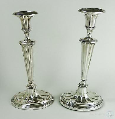Close Matched PAIR George III OLD SHEFFIELD PLATE Oval Fluted CANDLESTICKS c1790