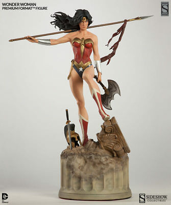 SIDESHOW EXCLUSIVE DC WONDER WOMAN Premium FORMAT FIGURE STATUE *NEW *with AXE*