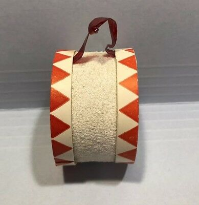 Vintage Drum Candy Container Christmas Ornament-Mica,Cardboard & Balsa Wood-NICE
