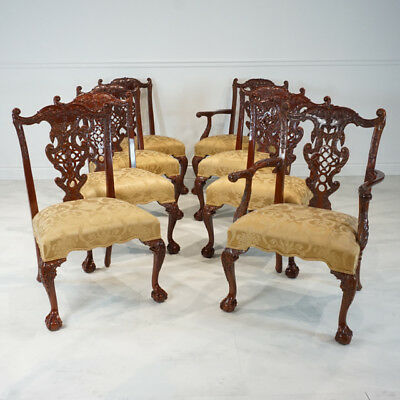 Set of 8 Chinese Chippendale mahogany traditional dining chairs