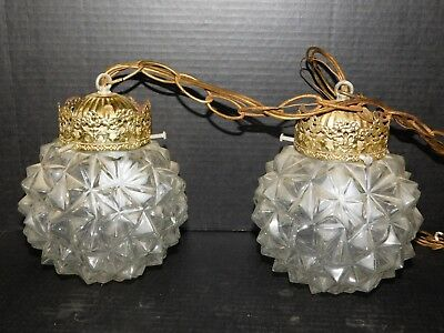 Pair Vtg 70s Glass Mid Century Modern Pendant Light Fixture Hanging Ceiling Lamp