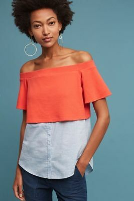 4851e55cdfbd97 ANTHROPOLOGIE LAYERED OFF-THE-SHOULDER Top NWT new size XL Postmark ...
