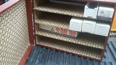 Vintage Photo Transparency Slide Carrying Case Storage Box & 9 Slide Trays P-25