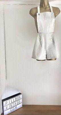 1960s Amazing Vintage PVC White Dungaree Shorts Size 6-8