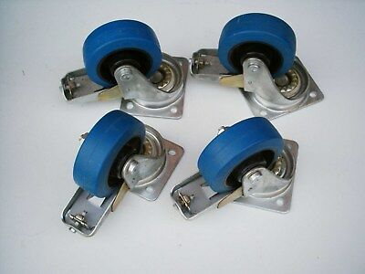 New, Set of 4, Flexello H.D. Swivel Castors, all with brakes.