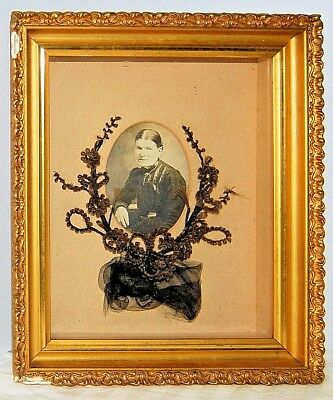 Antique Victorian Mourning Hair Wreath Photo in Shadow Box Frame Identity Noted
