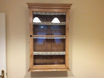 Lovely Old Waxed Pine/ Vintage Display Cupboard With Glass Glazed Door