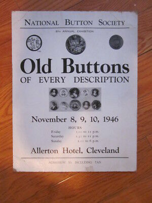1946 National Button Society 8Th Convention Poster Allerton Hotel Cleveland Ohio