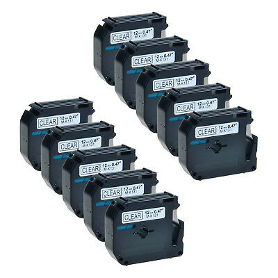 10 Pack MK131 M-K131 Black on Clear 0.47'' Label Tape For Brother P-Touch PT-65