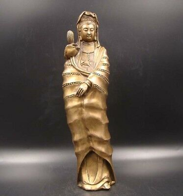 260mm Collectibles Handmade Carving Statue Kwan-yin Copper brass