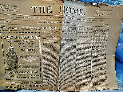 "1894 ""The Home"" Lancaster, PA Paper, Vol. VII, January 7, 1894"