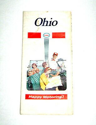 Vintage 1971 Humble Oil Ohio Fold Out Travel Map