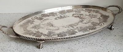 Antique Quality Large Silver Tray Old Sheffield Plate Repo Vinners 18thc Style