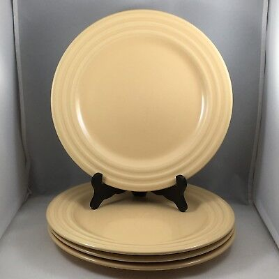 Pier 1 New Essentials Butter Dinner Plates Embossed Ring Rim Yellow Set of 4