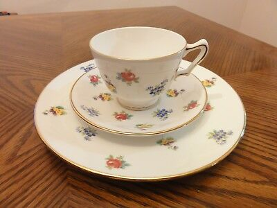 CROWN STAFFORDSHIRE China England Floral Gold Trim Salad Plate Cup & Saucer