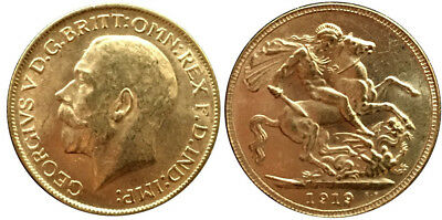 1919, King George V, £1, Gold Sovereign, Uncirculated Coin, Au Condition