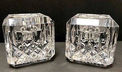 2 Signed Waterford Crystal Lismore Essence Votive or Candle Holders **PAIR**