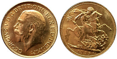1925, King George V, £1, Gold Sovereign, Uncirculated Coin In Mint State Quality