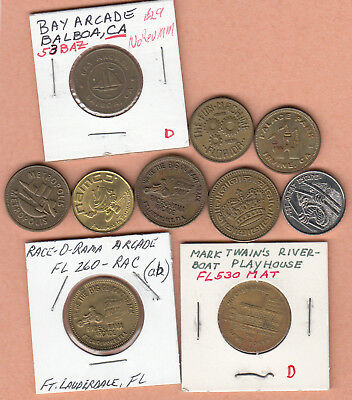 10 pc lot machine tokens from different States (pictorials) & misc.