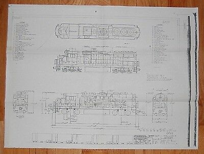 """Electro-Motive Division GP59 Locomotive Schematic Outline Drawing 22"""" x 17"""""""