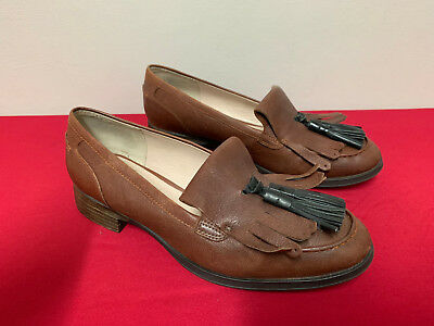 Clarks Narrative Brown Leather Tassel Womens Slip on Shoes Loafers Size 6.5/40