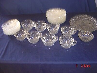 lot of 29  Anchor Hocking Clear bubble depression tea cups/ saucers/pie plates