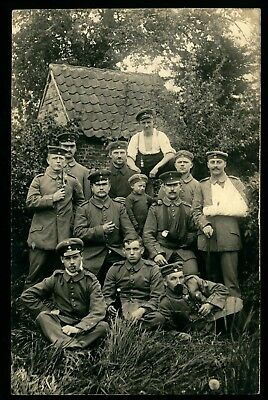 WWI German, Wounded Soldiers, several uniform types , photo #621