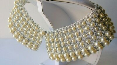 Vintage Pearl Crocheted Collar 6 Rows of Pearls Silver Thread