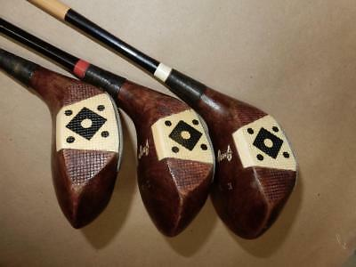 Antique Vintage Persimmon 1,2,3, Woods-GEORGE WRIGHT-Fancy Face-All Original