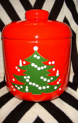 "Waechtersbach red Christmas tree canister w/lid,6.5"",made W.Germany, perfect"