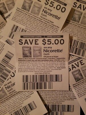 $5.00 Off Coupons for Nicorette Gum 100 Pieces or Larger. Set of 25. EX 12/31/19