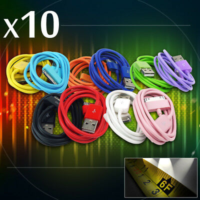 10X Lot 10-Color 6Ft Usb Cables Cord Data Sync Charger Samsung Galaxy Tab Tablet