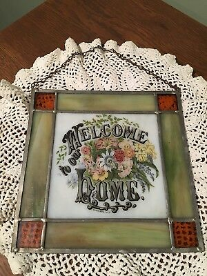 Vintage Currier & Ives Stained Glass Hanging / Welcome To Our Home / Flowers