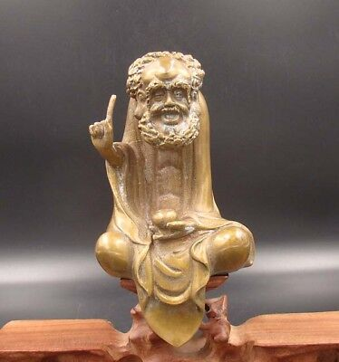 Collectible Handmade Carving Statue Copper Brass Buddha Bodhidharma