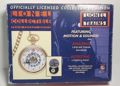 1998 LIONEL COLLECTOR'S TRAIN POCKET WATCH W/ SOUNDS Certificate Box #36232
