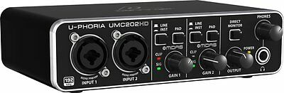 BEHRINGER UMC202HD 2x2 24bit/192 khz Recording USB Audio Interface MIDAS preamp