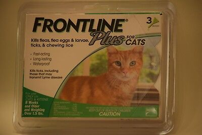 Frontline Plus Flea & Tick Treatment for Cats Over 1.5 Lbs (3 Doses) free ship