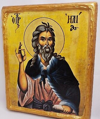 Saint Elijah Elias Ilias Elis The Prophet Greek Orthodox Byzantine Icon on Wood