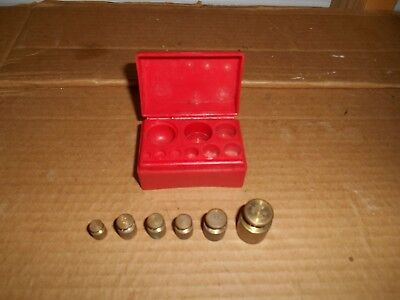 Ohaus brass scale weights set 5,10, 10, 10, 20 & 50 GRAMS