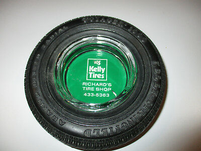KELLY TIRES - VOYAGER 1000 RUBBER and GLASS TIRE ASHTRAY