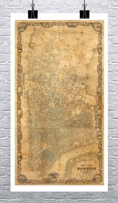 Map of New York City 1852 Antique Map Rolled Canvas Giclee Print 17x28 in.