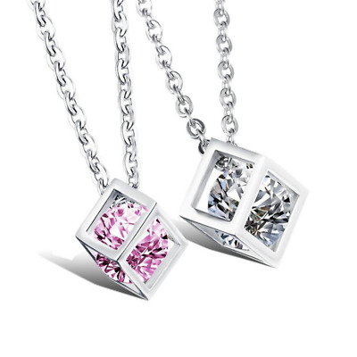 Fashion Unisex 316L Stainless Steel Rubik's Cube Chain Pendant Necklace Gift 950