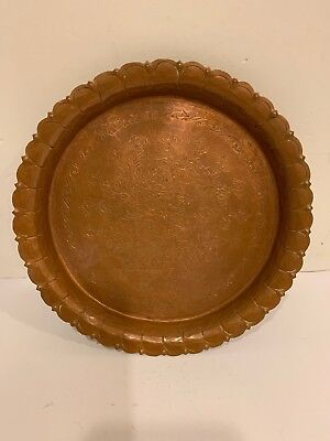 Vintage Solid heavy Ornate Copper Plate 7.5'' Round Made in India