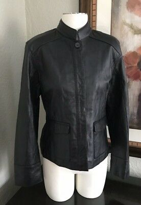 Mossimo Women's Large Black Soft Genuine Leather Motto Jacket Pockets Lined