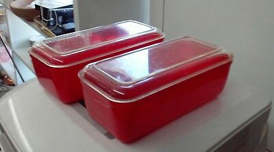 Lustro Ware Red Refrigerator Dishes Pair Hard To Find Mid Century Modern