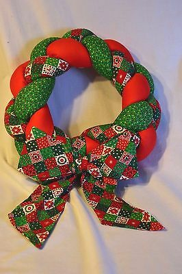 Christmas Wreath Fiber Fill Holiday Door Decoration Red Green White print Fabric