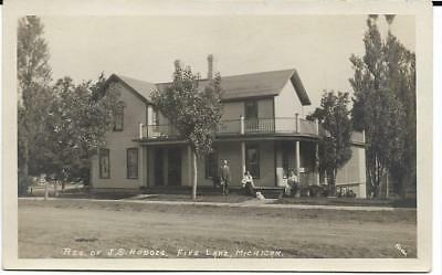 RPPC J.S. Hodges family and home, Fife Lake, Michigan, by Beebe, c1910