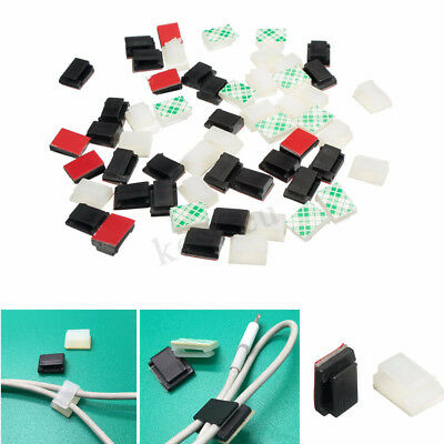 50PC 100PC Adjustable Self-Adhesive Wire Cable Ties Mounts Clip Organizer