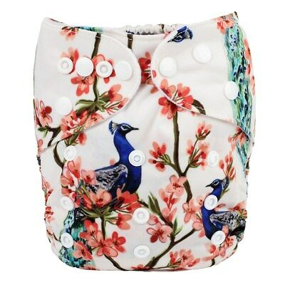 2018 New Baby Pocket Cloth Diaper Nappy Reusable Washable Peacock